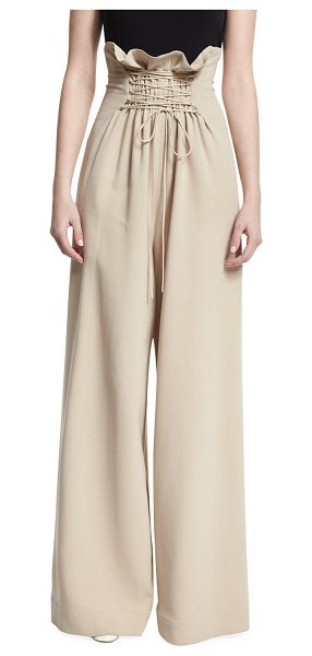 "The Row Roy High-Waist Wide-Leg Pants in beige - THE ROW ""Roy"" stretch-wool pants. Paperbag waist with..."