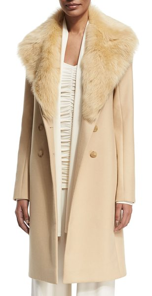 "The Row Roza Shearling-Trim Long Coat in light beige - THE ROW ""Roza"" virgin wool coat. Dyed lamb shearling..."