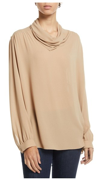"The Row Runa Cowl-Neck Long-Sleeve Silk Top in beige - The Row ""Runa"" silk top. Cowl neckline. Long sleeves...."