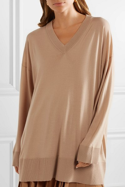 The Row sabrinah oversized wool sweater in sand