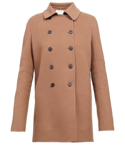 The Row saku double-breasted cashmere peacoat in mid brown