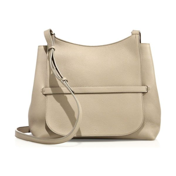 The Row sideby pebbled leather crossbody bag in stone - Pebbled leather hobo silhouette with tucked flap....