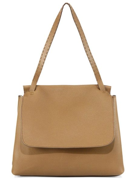 The Row sidkick leather bag in warm beige - Textured leather bag rendered in a monochromatic finish....