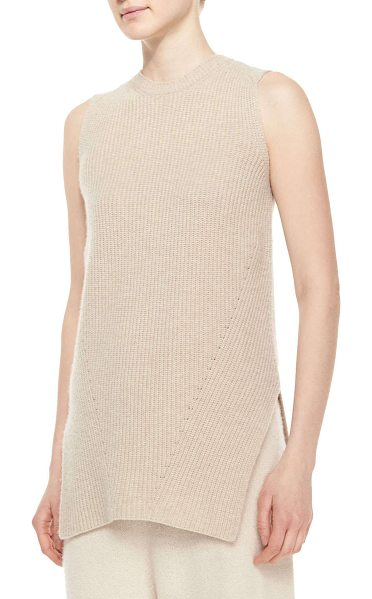 The Row Sleeveless merino/cashmere ribbed top in stone -  THE ROW ribbed cashmere-blend top with angled side...