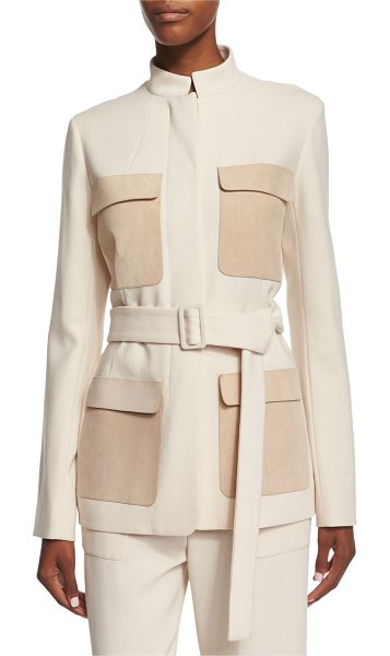 The Row Slim-Fit Jacket W/Contrasting Pockets in ivory cream - The Row wool jacket with calfskin suede pockets. Approx....