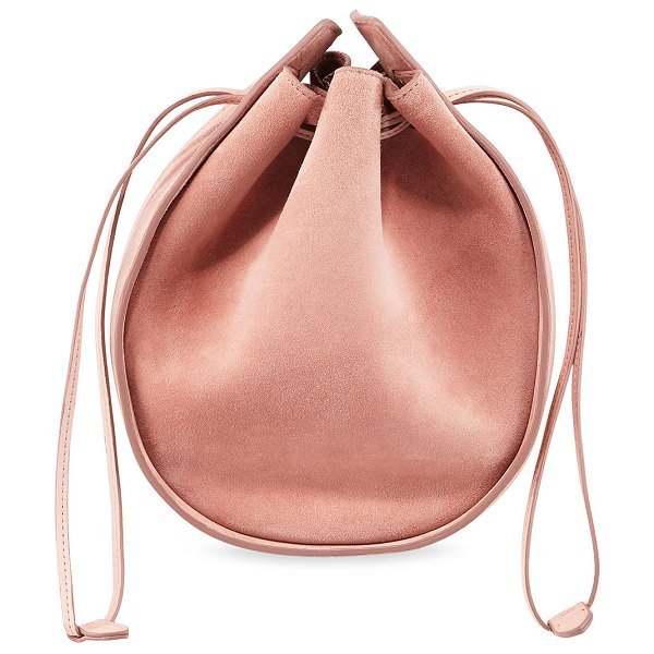 The Row Drawstring Pouch Bag in Suede in desert rose