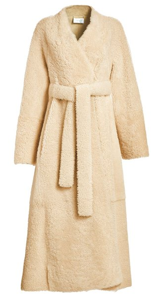 The Row tanilo shearling wrap coat in sand
