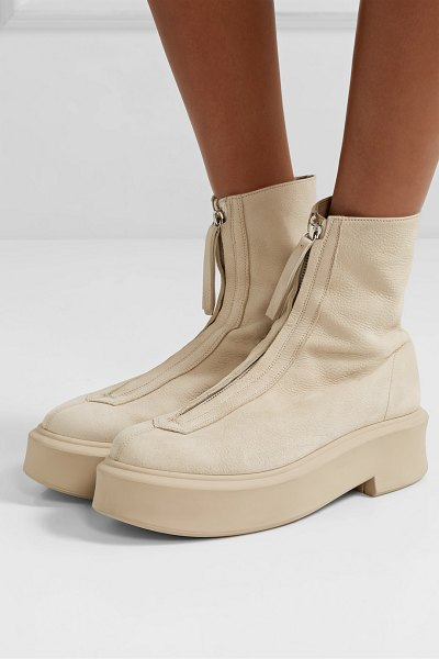 The Row textured-nubuck platform ankle boots in beige