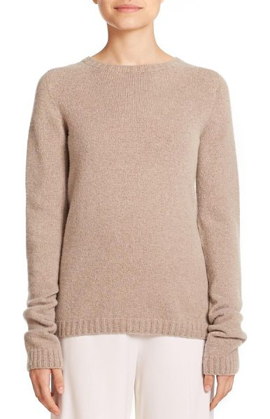 The Row Tisa crewneck sweater in taupe - An elongated sleeve design lends a modern touch to this...