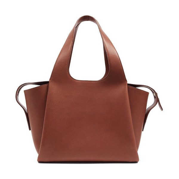 The Row tr1 folded leather bag in brown
