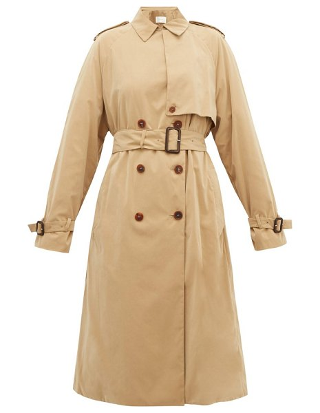 The Row triana double-breasted trench coat in beige