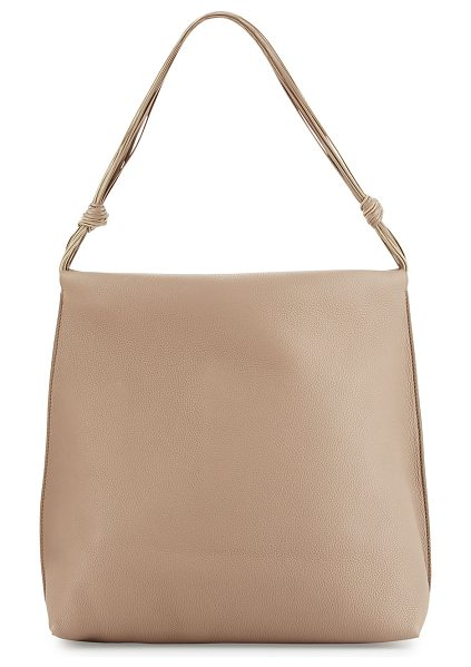 The Row Wander Leather Shoulder Bag in stone pld - THE ROW fine-grained leather shoulder bag. Polished...
