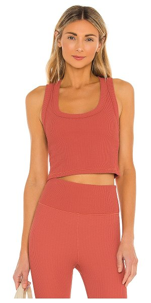 THE UPSIDE jacquard leandra crop top in apricot