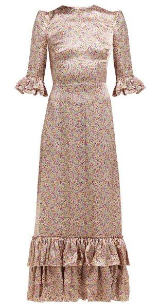 THE VAMPIRE'S WIFE cinderella floral print silk satin maxi dress in pink print - The Vampire's Wife - The Vampire's Wife Cinderella dress...