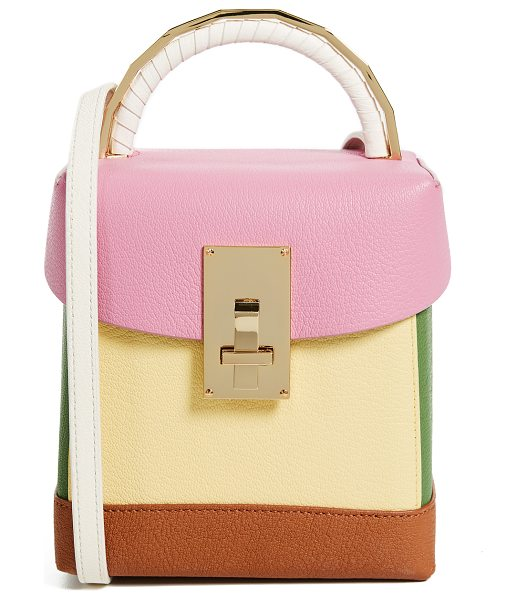The Volon box bag in pink/yellow - Leather: Goatskin / cowhide Pebbled leather Colorblock...