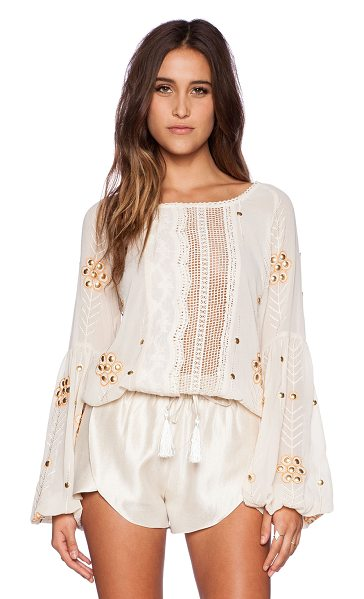 The Wallflower Journey top in cream - 100% poly. Hand wash cold. Embroidered detail...