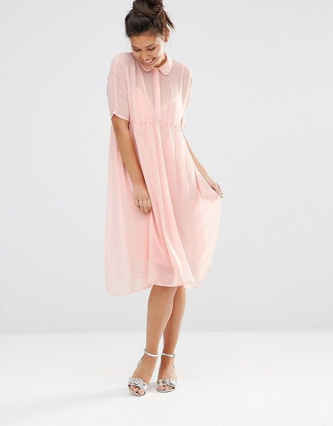 The Whitepepper Shimmer Shirt Dress in pink - Casual dress by The WhitePepper, Glittered chiffon,...