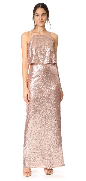 Theia azelea gown in rose gold - A romantic Theia gown, covered with shimmery sequins. A...