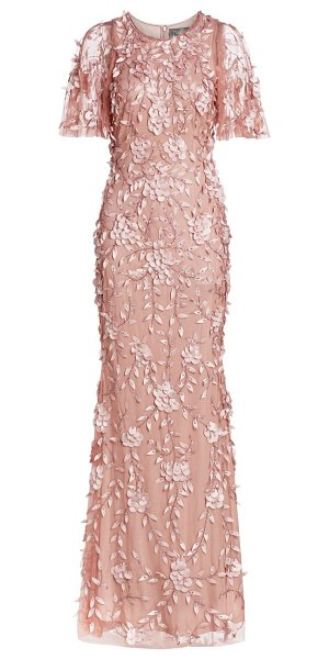Theia beaded floral gown in blush