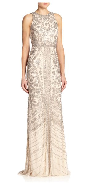 Theia Beaded halter gown in silverblonde - Allover intricate beading instantly elevates this...