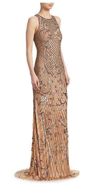 Theia beaded sleeveless gown in bronze - Elegant gown covered with patterned sequins Jewelneck...