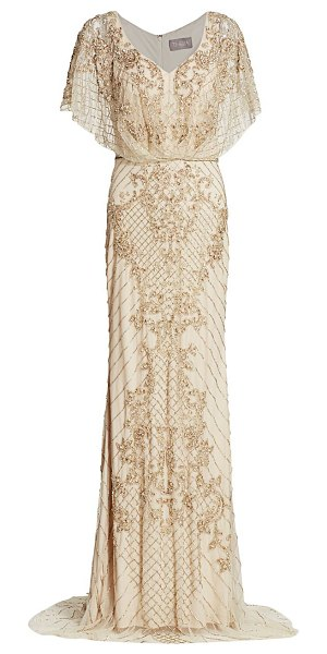 Theia bejeweled cape column gown in champagne