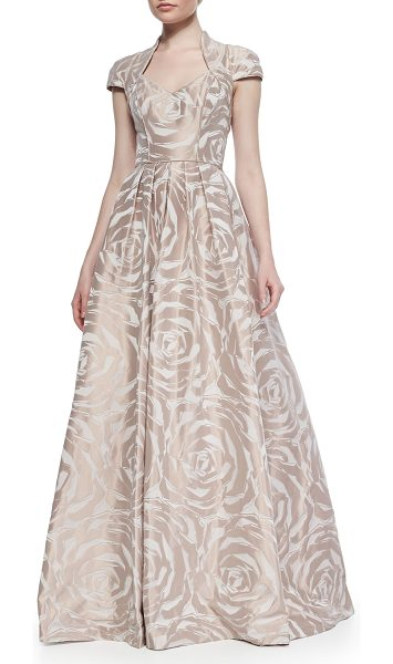 """Theia Cap-sleeve floral jacquard ball gown in dusty rose - Theia floral jacquard ball gown. Approx. 45""""L from waist..."""