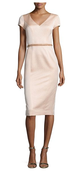 THEIA Cap-Sleeve V-Neck Midi Cocktail Dress - Theia lustrous satin cocktail dress. Approx. length:...