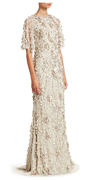 Theia embellished flutter-sleeve tulle gown in sandstone