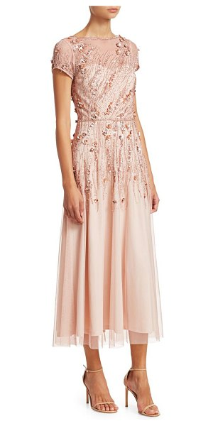 Theia embellished tulle cocktail dress in bisque - Beaded floral embellishment adorns this delicate tulle...