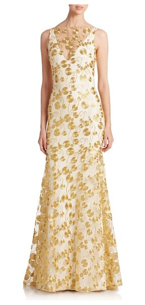 THEIA Embroidered crepe gown - A mesh overlay detailed with metallic gold embroidery...