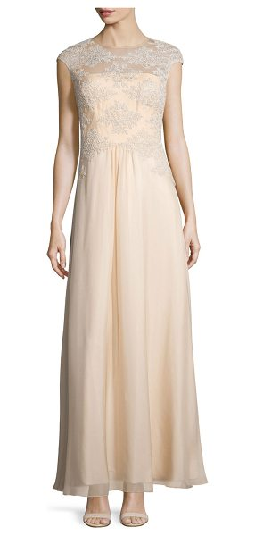 Theia Embroidered Tulle Silk Gown in champagne - Kay Unger embroidered tulle gown with sheer yoke for...