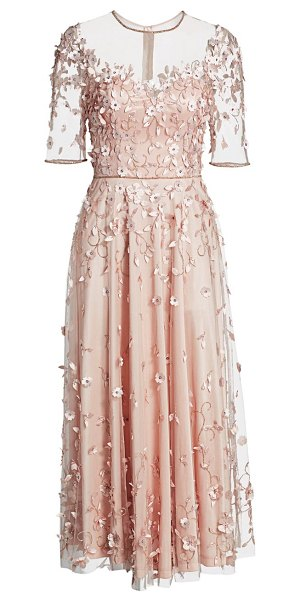 Theia floral appliqué illusion midi a-line dress in blush