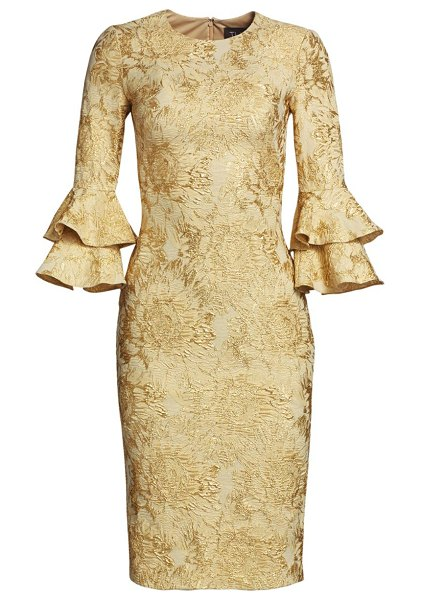 Theia floral jacquard tiered-sleeve cocktail dress in gold