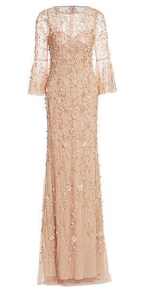 Theia flounce-sleeve 3-d embroidered gown in blush