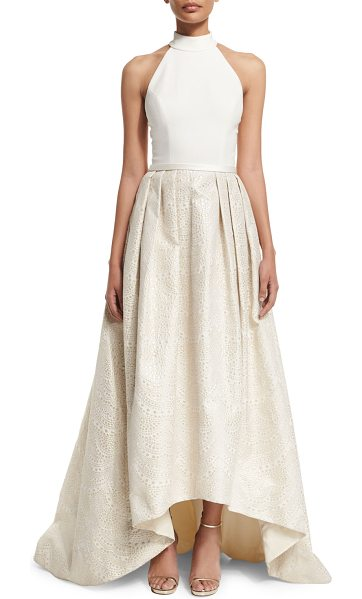 Theia Halter High-Low Gown in cream/gold - Theia gown with crepe bodice and jacquard skirt. Approx....