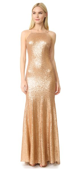 Theia jessica sleeveless mermaid gown in matte rose gold - Shimmering metallic sequins lend a luminous look to this...