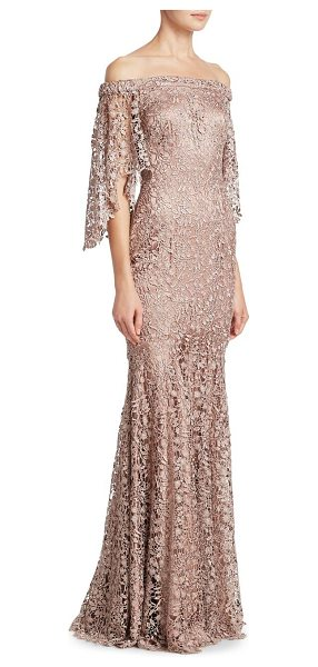 Theia lace off-the-shoulder gown in mink - Column gown in allover floral overlay. Off-the-shoulder...