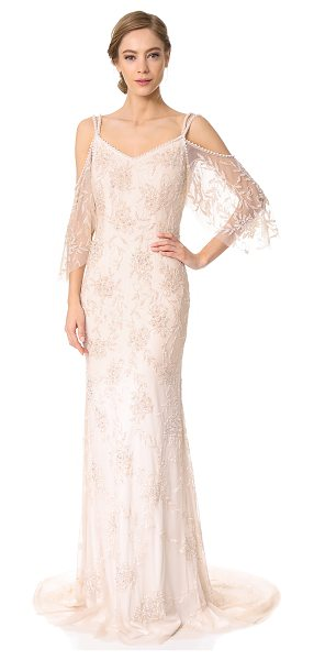 Theia layla off the shoulder slip gown in blush - Elegant beads create a glossy floral effect on this airy...