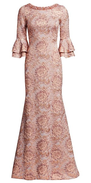 Theia metallic floral jacquard bell-sleeve trumpet gown in antique rose