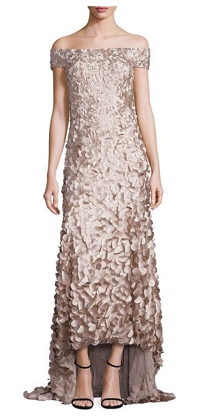Theia high-low petal gown in champagne