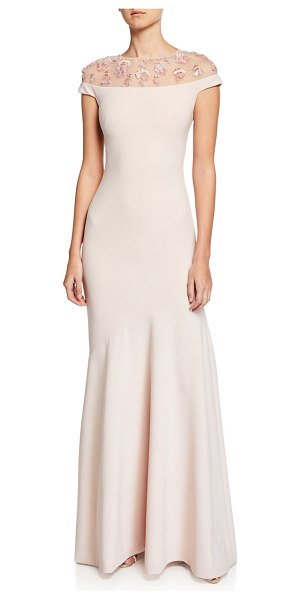 Theia Off-the-Shoulder Illusion Cap-Sleeve Crepe Gown w/ Embellished Yoke in blush