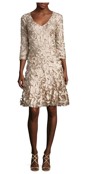 Theia petal flared dress in champagne - Hand embroidered laser cut petals elevate the elegance...