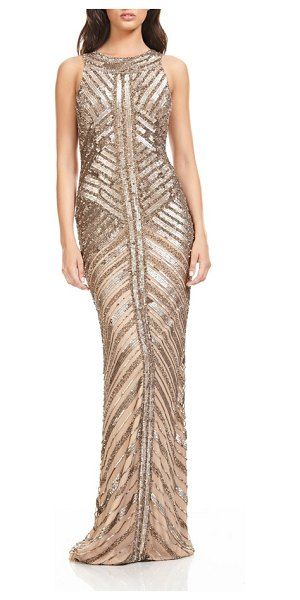 Theia sequin column gown in gold - Light up the holiday party in this glitzy evening gown...