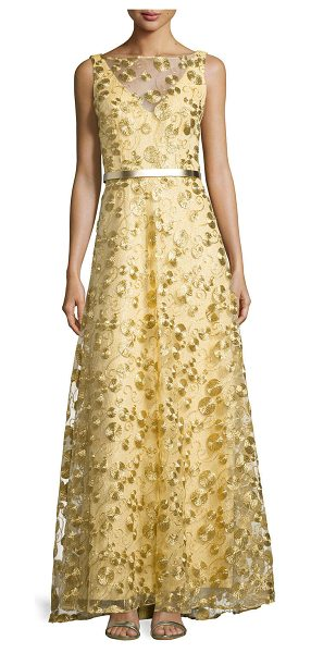 Theia Sleeveless circle-embellished gown in gold -  Theia woven gown with circle-embellished overlay....