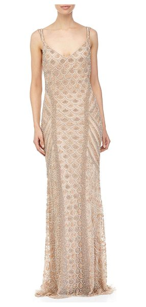 THEIA Crystal lng beaded gown in tearose - Theia allover crystal beaded gown. Sweetheart neckline....