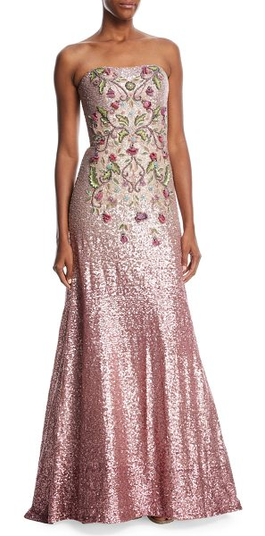 """Theia Strapless Ombré Sequin Gown w/ Beaded Bodice in peony - Theia ombr sequin gown with beaded front. Approx. 62.5""""L..."""