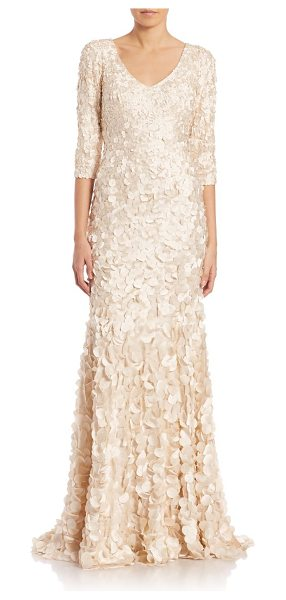 Theia v-neck petal gown in sand - Enchanting gown with allover petal appliques.V-neck....