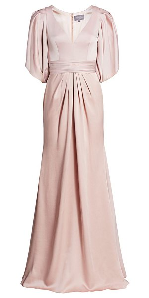 Theia v-neck satin gown in blush