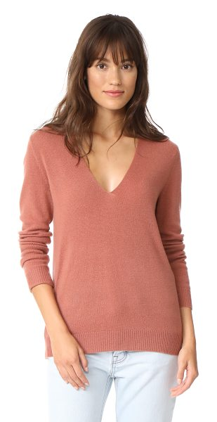 Theory adrianna cashmere sweater in deep rose - This loose, lightweight Theory sweater is styled with a...